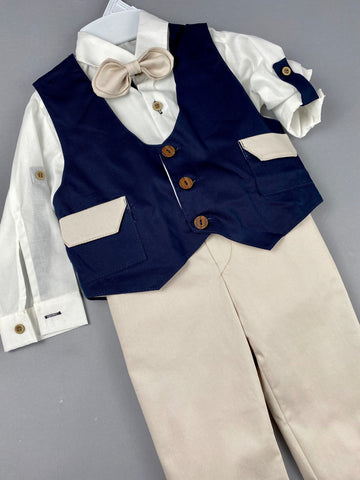 Rosies Collections 7pc full suit, TrimmedDress shirt With Cuff sleeves, Pants, Jacket, Navy Blue Vest, Belt or Suspenders, Cap. Made in Greece exclusively for Rosies Collections
