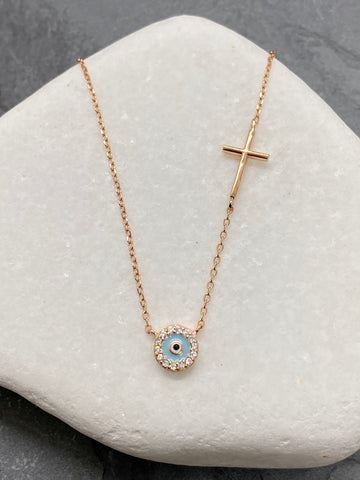 "925"" Sterling Rose Gold Evil Eye Mati Necklace with Rhinestones and Cross RN1"
