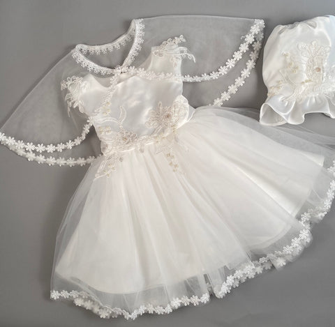 Dress 3 Girls Christening Baptismal Embroidered Dress with Pearl Accents, Matching  Cape  and Hat