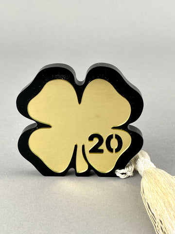 Large Freestanding 2020 Four Leaf Clover with Tassel