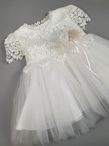 Dress 6 Girls Christening Baptismal Lace Dress with Flowers and Pearls