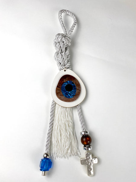 "Gouri 1027 Pearl cord Gouri with large acrylic Evil eye, Murano glass beads and metal cross with large tassel. 18"" in length"