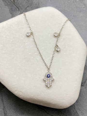 "925"" Sterling Silver Hamsa Necklace with Rhinestones SN16"