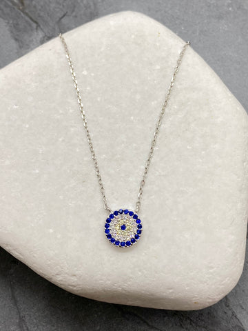 "925""  Sterling Silver Evil Eye Mati Necklace with Rhinestones SN7"