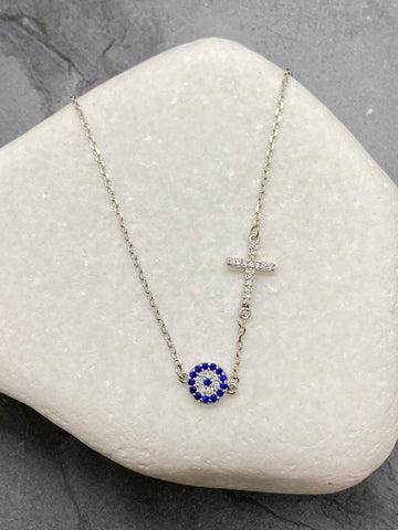 "925"" Sterling Silver Evil Eye Mati Necklace with Cross and Rhinestones SN1"