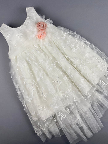 Dress 28 Girls Baptismal Christening Sleeveless  3pc French Lace Layered  Dress with long French Lace trail, matching Bolero and Hat. Made in Greece exclusively for Rosies Collections.