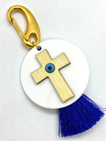 Wooden Cross with Mati Bead on Acrylic Base with Tassel Keychain