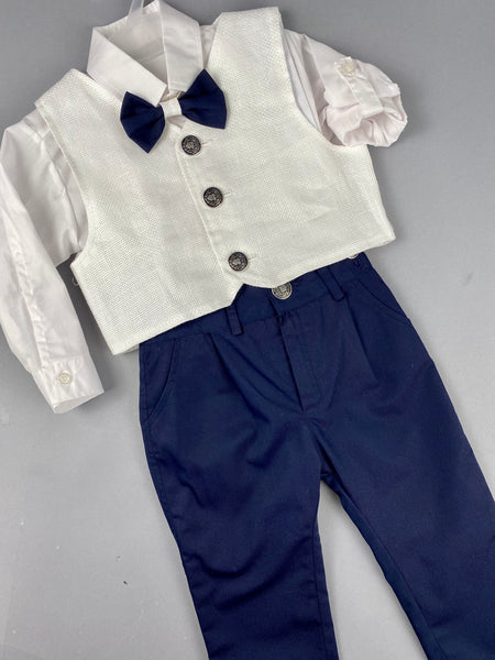 Rosies Collections 7pc full suit, Dress shirt with cuff sleeves, Navy Blue Pants, White Jacket, Belt or Suspenders, Cap. Made in Greece exclusively for Rosies Collections