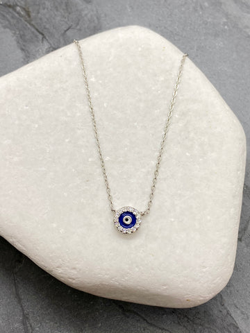 "925"" Sterling Silver Evil Eye Mati Necklace with Rhinestone SN14"