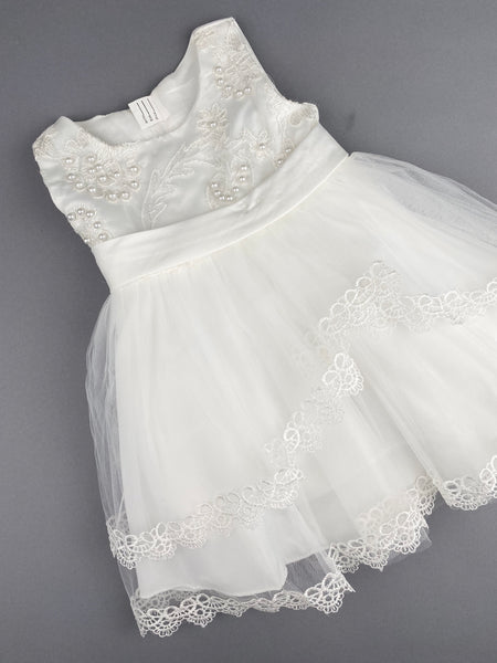Girls Christening Baptismal Embroidered Dress 46 with Pearls