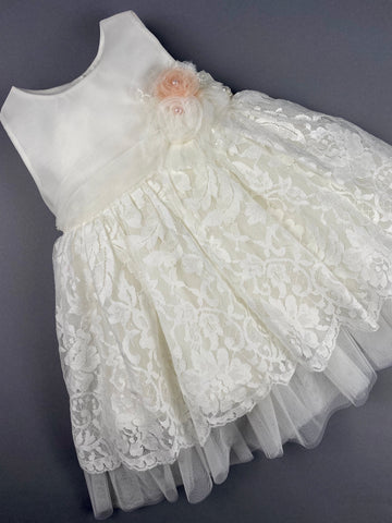 Dress 21 Girls Baptismal Christening Sleeveless  3pc Lace Embroidered Dress, with matching Bolero and Hat. Made in Greece exclusively for Rosies Collections.