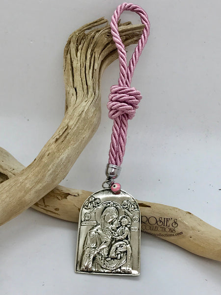 Gouri 11 Pink Rope with Large Panagia Icon