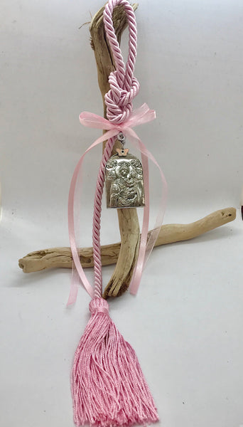 Gouri 15 Pink Rope with Panagia Icon and Butterfly Mati