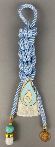 "Gouri 1002 Pearl Baby Blue Cord Gouri, large metal Mati, double sided  Konstantinata  pendant, large beads and white Tassel.  Measures 13.5"" in length."