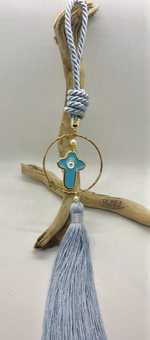 Gouri 28 Baby Blue Rope, Gold Hoop With Large Baby Blue Cross and Large Tassel