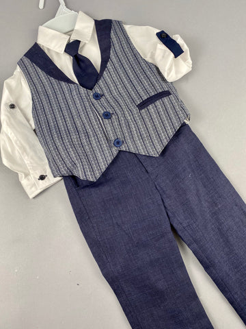 Rosies Collections 7pc full suit, Trimmed Dress shirt With Cuff sleeves, Linen Pants, Linen Jacket,  Linen Vest, Belt or Suspenders, Cap. Made in Greece exclusively for Rosies Collections