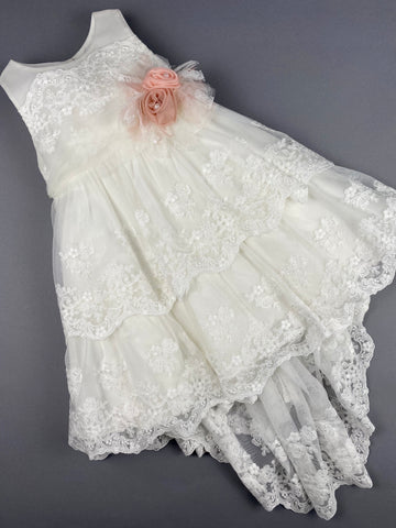 Dress 26 Girls Baptismal Christening Sleeveless  3pc French Lace Layered  Dress with long French Lace trail, matching Bolero and Hat. Made in Greece exclusively for Rosies Collections.