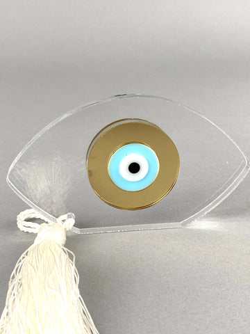 Large Freestanding Acrylic Evil Eye with Tassel