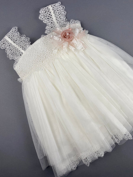 Dress 20 Girls Baptismal Christening Sleeveless  3pc Dress with matching Bolero and Hat. Made in Greece exclusively for Rosies Collections.