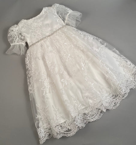 Lace Gown 1 Girls Christening-Baptismal Embroidered Lace Gown  with Rhinestone Belt Hat