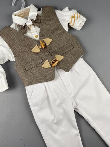 Rosies Collections 7pc full suit, Dress shirt trimmed  and cuff sleeves, Pants, Jacket with Matching Vest and wooden buttons, Belt or Suspenders, Cap. Made in Greece exclusively for Rosies Collections
