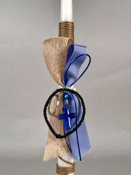 Murano Blue Glass Keychain with Koboskini