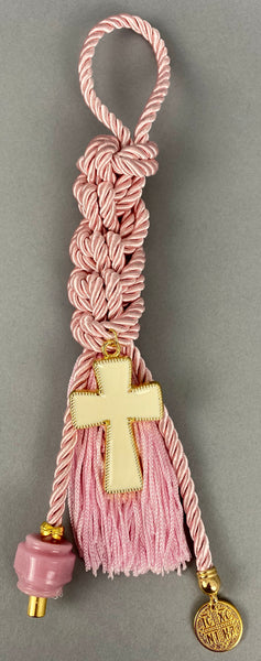 "Gouri 1005 Pearl Baby Pink Cord Gouri, large metal Cross, double sided Konstantinata pendant, large glass beads and extra long Tassel.  Measures 13.5"" in length."