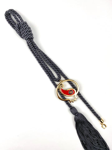 Evil Eye Pomegranate Gouri on Dark Grey with Long Tassel