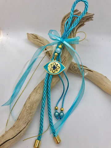 Gouri 24  Baby Blue Rope With Large Mati and Beads