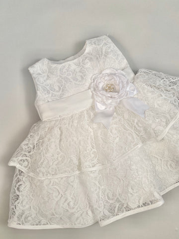 Dress 6 Girls Embroidered Lace Layered Dress with Pearl Flower
