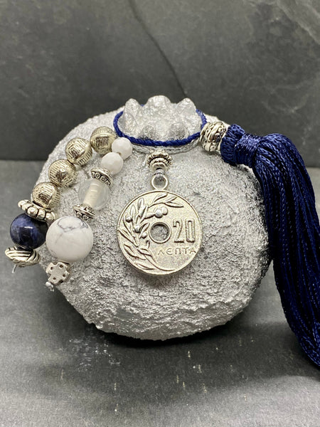 Two Tone White Gold Medium Size Ceramic Pomegranate with 20 Lepta Coin, Glass Beads and a large Tassel