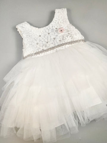 Dress 5 Girls Christening Baptismal Layered Dress with Rhinestone Accents and Belt