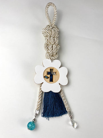 "Gouri 1028 Pearl cord Gouri, large acrylic 4 leaf clover cross with Mati bead, Murano glass beads, with large tassel. 15"" in length"