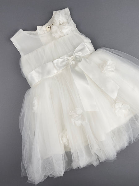 Girls Christening Baptismal Dress 48Tulle Top and Flowers
