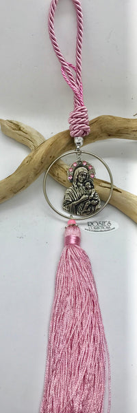 Gouri 4 Pink Rope, Large Hanging Panagia with Rhinestones and Large Tassle