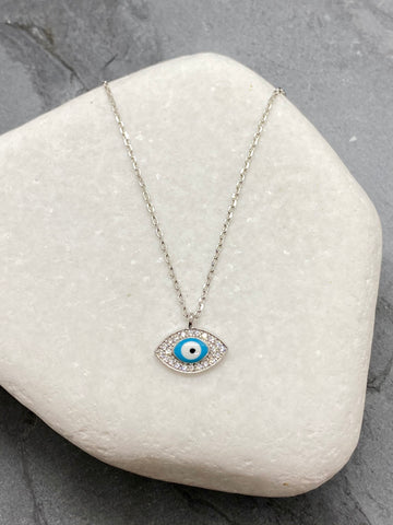 "925"" Sterling Silver Evil Eye Mati Necklace with Rhinestones SN5"
