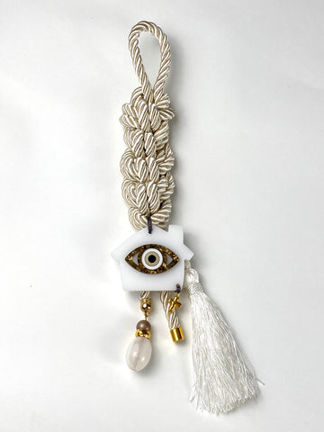 "Gouri 1026 Ivory pearl cord Gouri with large acrylic Evil eye, Murano glass bead and metal cross. 14"" length"
