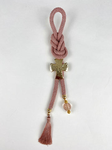Gouri 202013 Dusty Rose Braided Cord with Large Hammered Gold Cross, tassel and Murano Glass Bead
