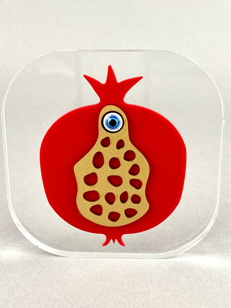 Large Freestanding Clear Acrylic with Pomegranate Evil Eye Mati