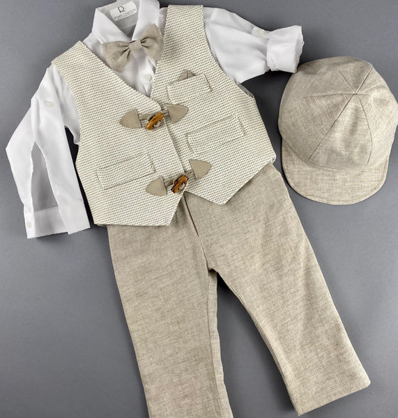 Rosies Collections 7pc full suit, Dress shirt with cuff sleeves, Bow Tie, Pants, Jacket with Matching Vest with Wooden Buttons,  Belt or Suspenders & Cap. Made in Greece exclusively for Rosies Collections