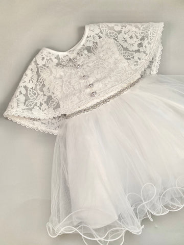 Dress 8 Girls Christening Baptismal Embroidered Dress with Matching Cape and Rhinestone Belt