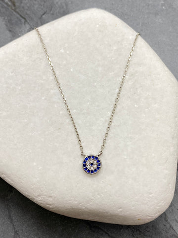 "925"" Sterling Silver Evil Eye Mati Necklace with Rhinestones SN1113"