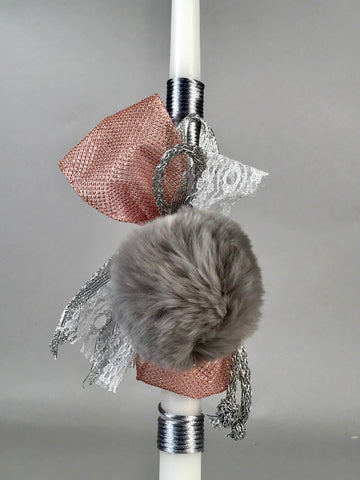 Grey Keychain Pompom with Seashell Cross