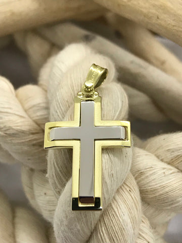 Triantos Yellow White Gold Cross 28