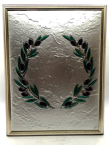 Silver Olive Wreath Frame