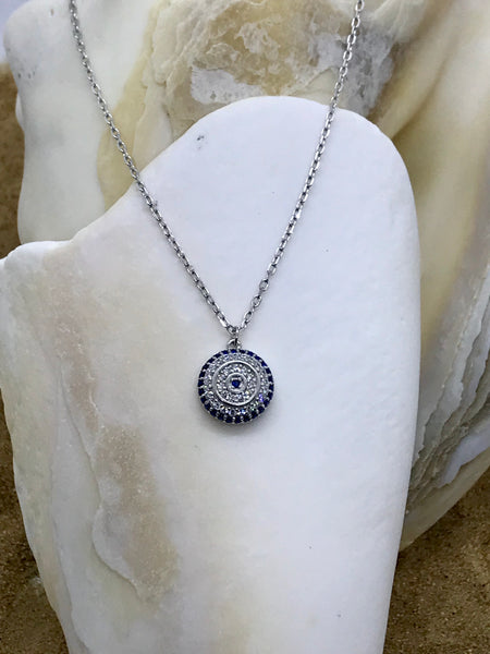 Evil Eye Mati Necklace Silver 3
