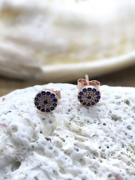 Evil Eye Mati Earrings Rose Gold 5
