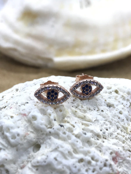 Evil Eye Mati Earrings Rose Gold 2