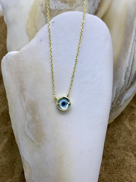 Evil Eye Mati Necklace Gold 2