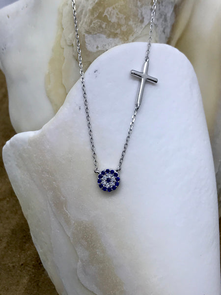 Evil Eye Mati Necklace Silver 4